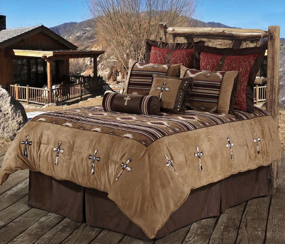 Navajo cross southwestern comforter western bedding set ebay - Bedroom sheets and comforter sets ...