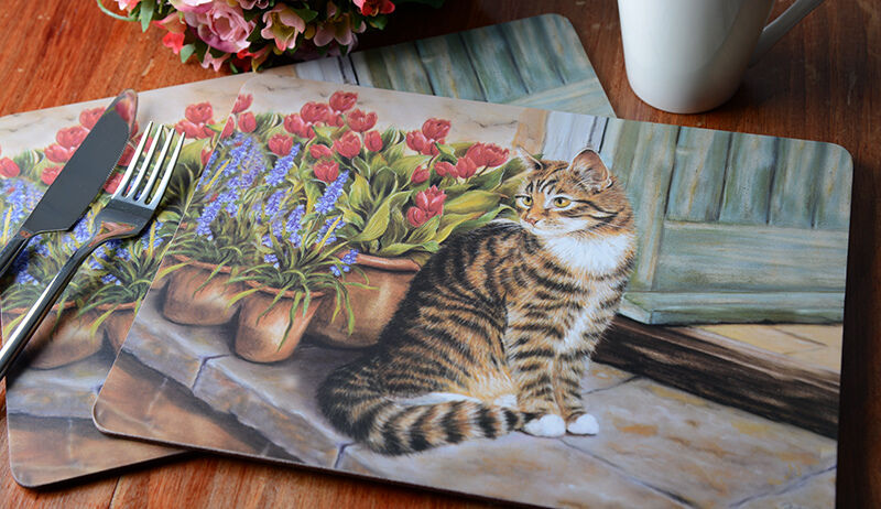 New Set Of 6 Cottage Cat Cork Back Placemats Table Mats By