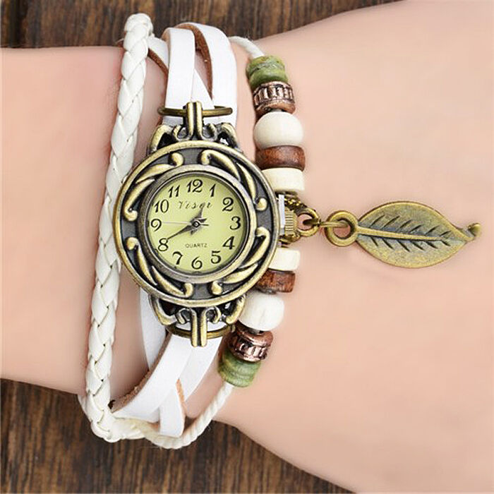 montre femme blanche bracelet perle fleur id e cadeau anniversaire ado fille ebay. Black Bedroom Furniture Sets. Home Design Ideas