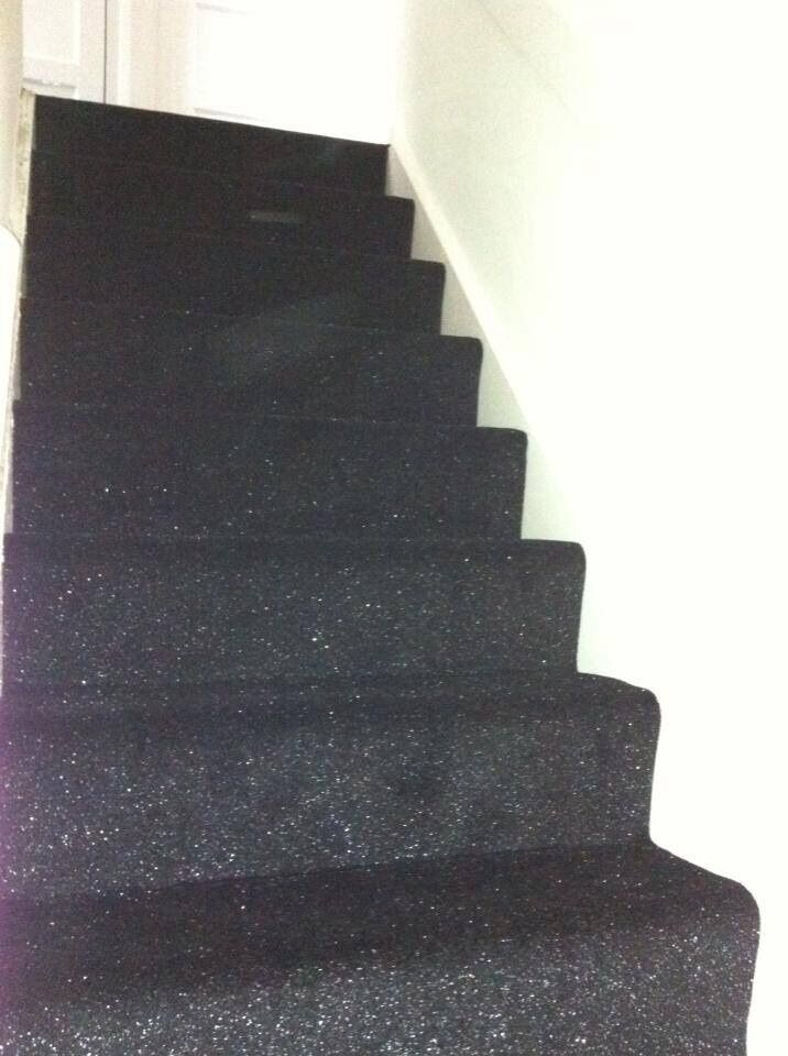 Stairs Hall Carpet Black Glitter Sparkle Carpet Any Size X