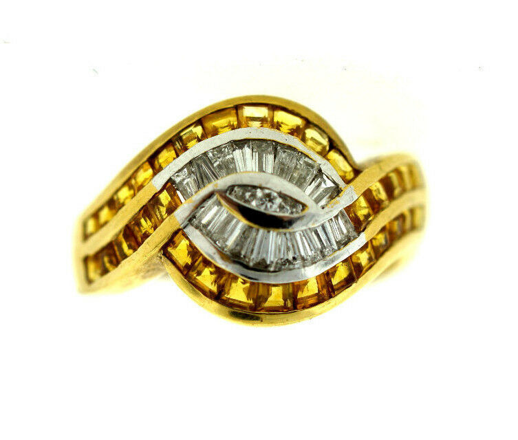 18k yellow gold yellow sapphire diamond ring stamped 750 serial number ebay. Black Bedroom Furniture Sets. Home Design Ideas