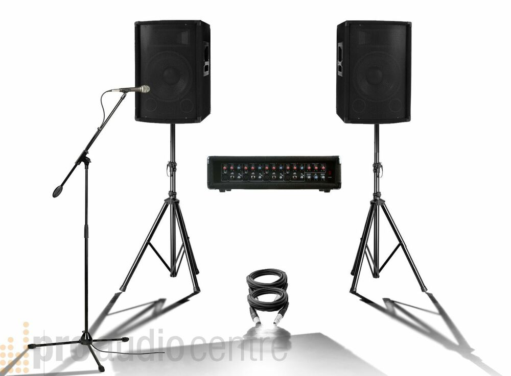complete 200w pa system 4 channel mixer amp speakers dj pa band pa ebay. Black Bedroom Furniture Sets. Home Design Ideas