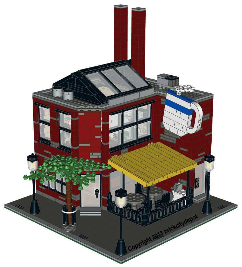lego custom modular building smokestacks coffee shop instructions only ebay. Black Bedroom Furniture Sets. Home Design Ideas
