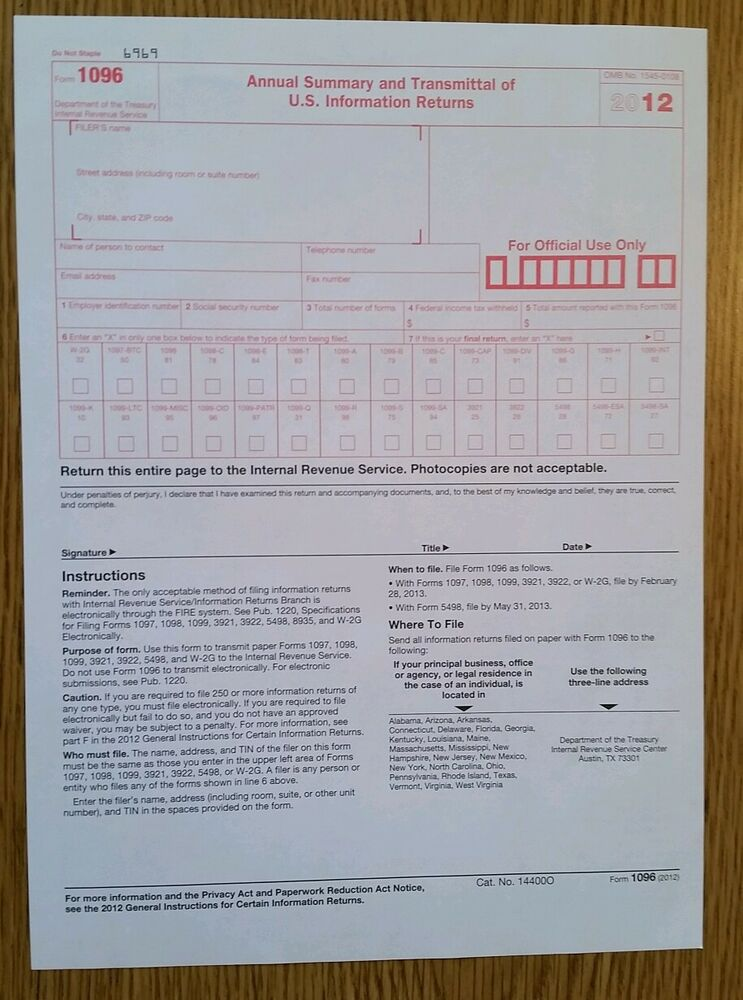 2012 IRS Tax Form 1096 Annual Summary and Transmittal (for 1099's to IRS) |  eBay