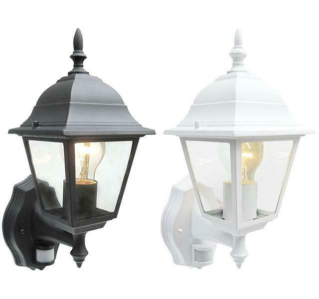 Outdoor 4 Sided Wall Lantern Black Or White With Pir