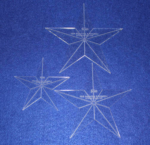 How To Use Acrylic Quilting Templates : Laser Cut Quilt Templates- 3 Piece Star - Clear Acrylic 1/8