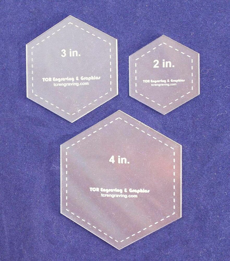"Laser Cut Quilt Templates- 3 Piece Hexagon - 2"", 3"", 4 ..."