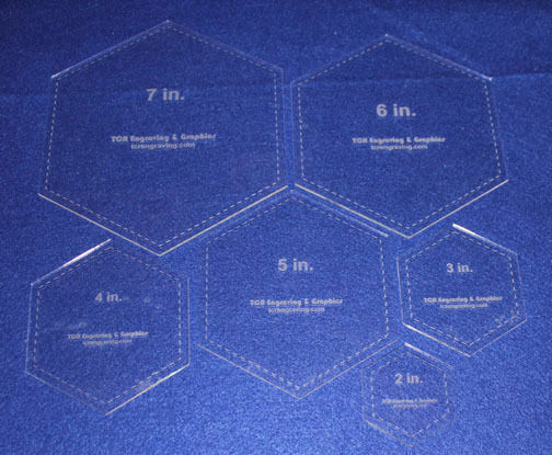quilting hexagon templates free - 6 piece hexagon laser cut quilt templates clear acrylic