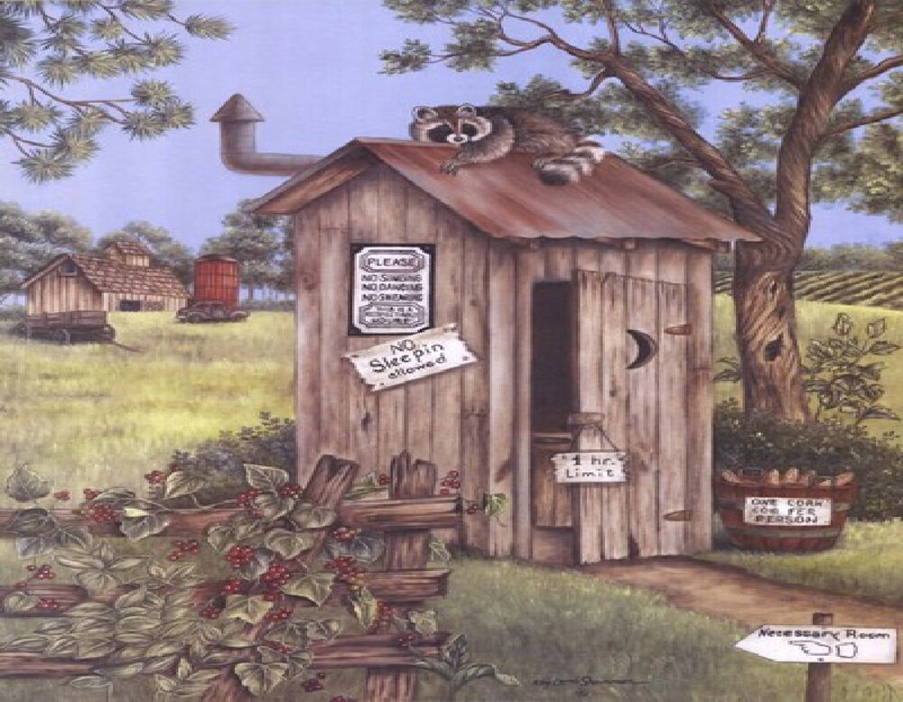 Country Outhouse 1 Mouse Pad Image Fabric Top Rubber