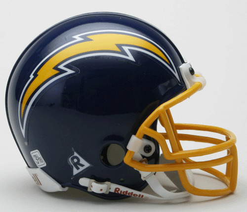 San Diego Chargers Helmets: SAN DIEGO CHARGERS 1974-1987 Riddell Mini Football Helmet