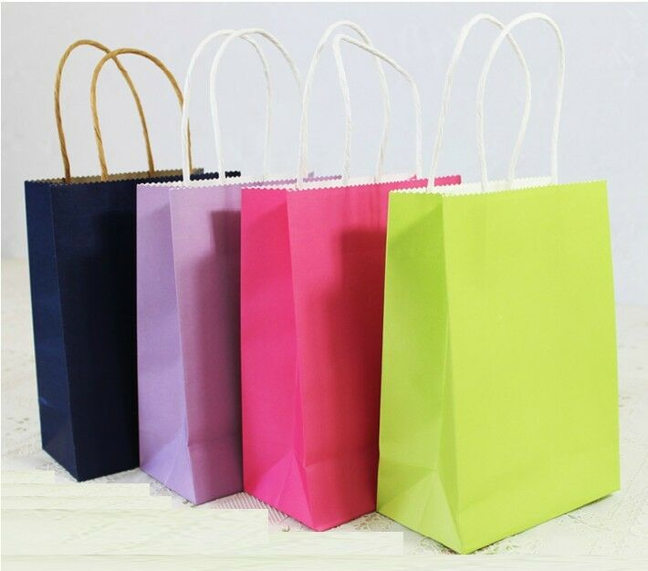 10pcs Candy Color Gift Paper Bag Pouch For Holding Wedding Favor Loot Bags S