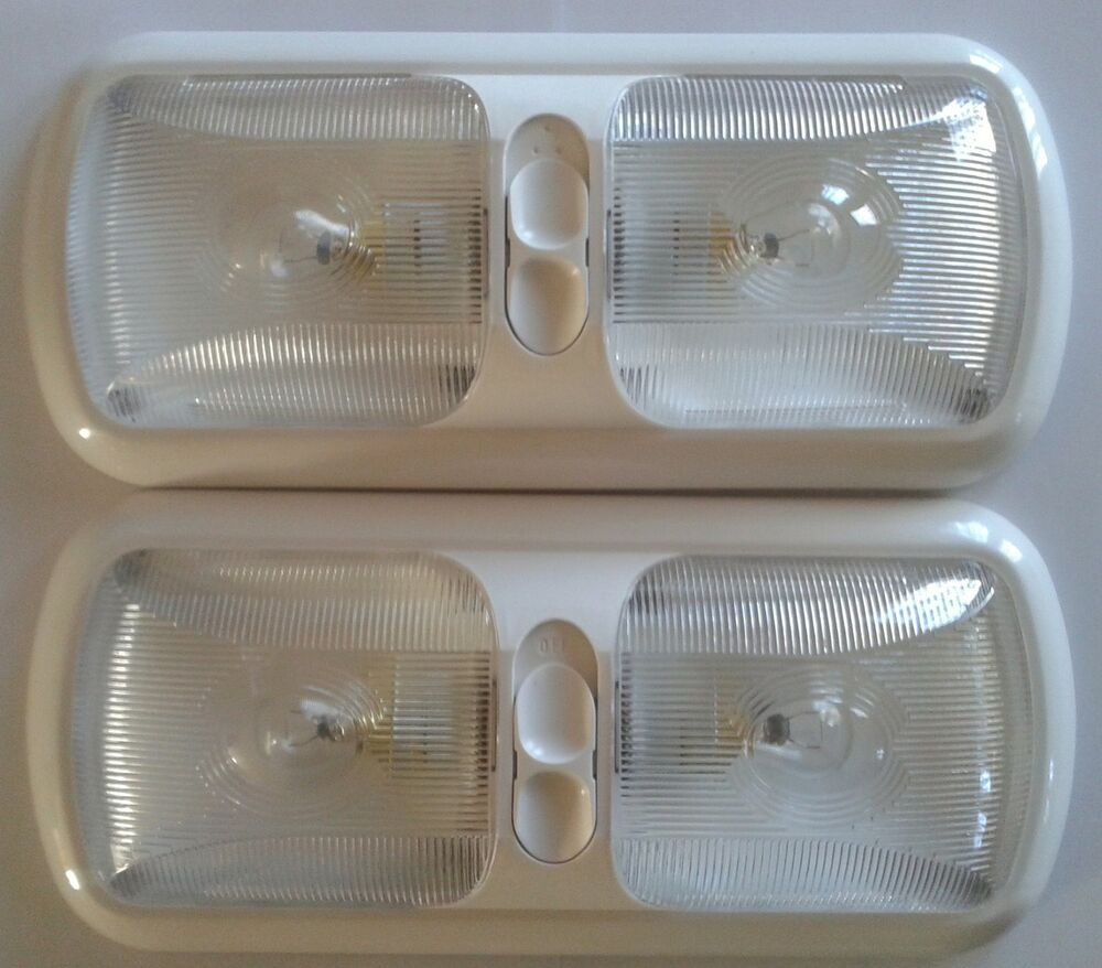 2 New Rv Trailer Camper Bus 12 Volt Double Dual Dome Light Fixture White Led Ebay
