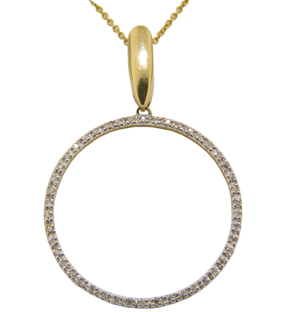 14k yellow gold diamond circle pendant necklace with 16. Black Bedroom Furniture Sets. Home Design Ideas