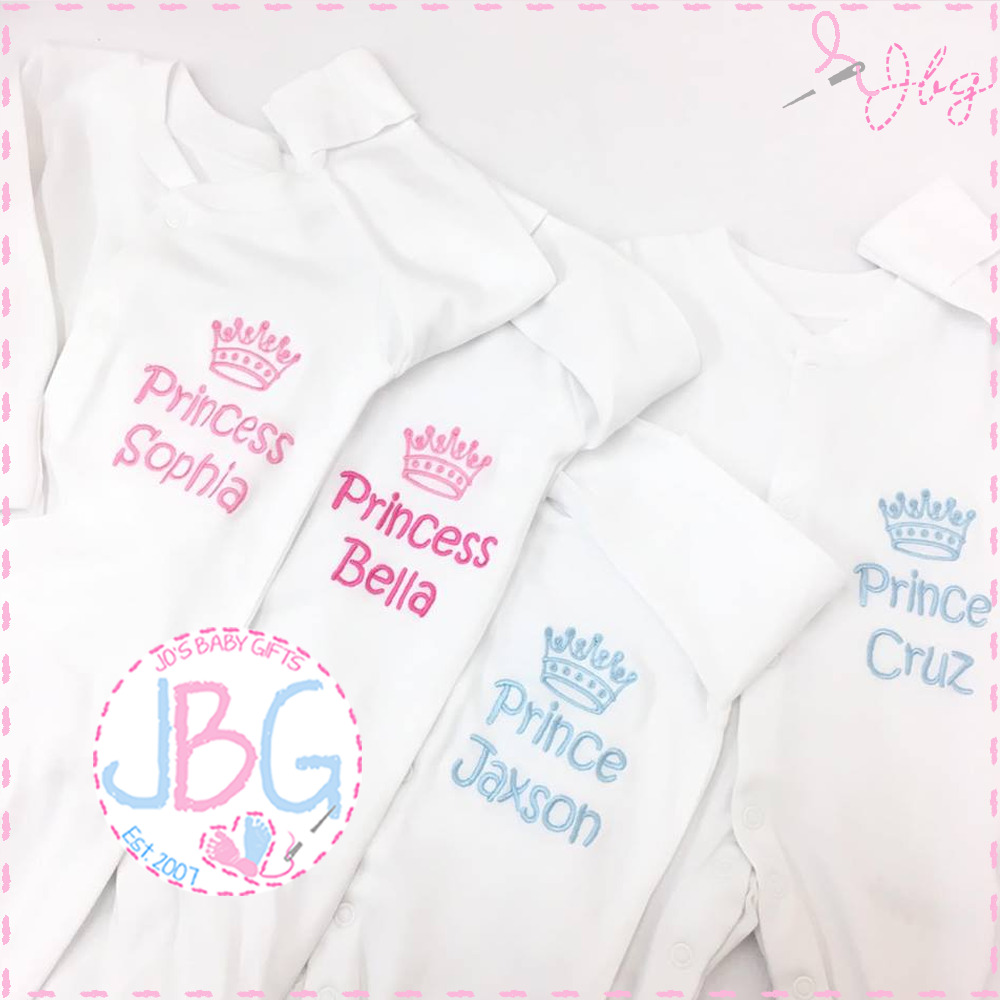 Personalised Baby Sleepsuit Baby Grow clothes Crown
