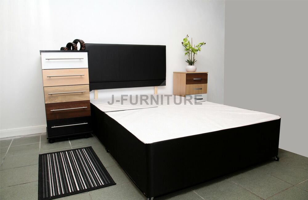 5ft king size divan bed base in black colour with faux for Divan bed base sale