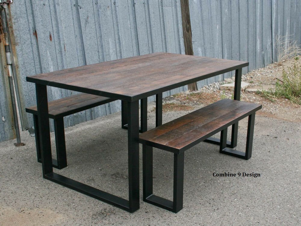 Dining set made of steel vintage reclaimed wood urban