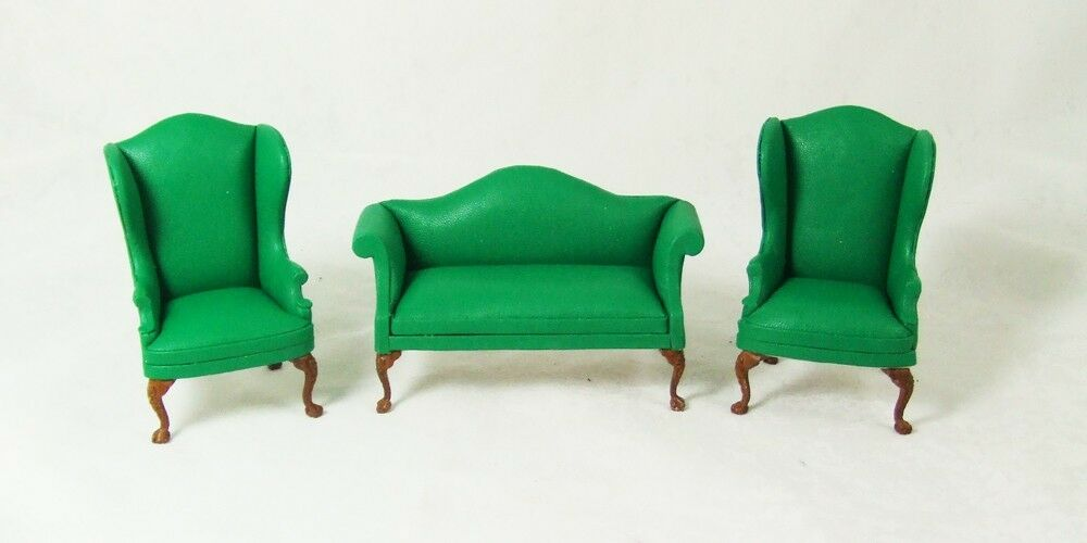1 Scale Miniature Green Leather Sofa And Wingback Chair Living Room Set For 3pc Ebay