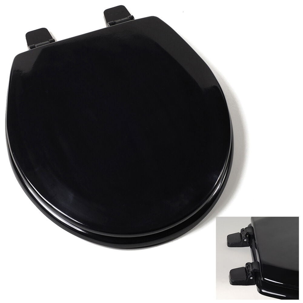 Deluxe Black Round Wood Toilet Seat Adjustable Hinges EBay