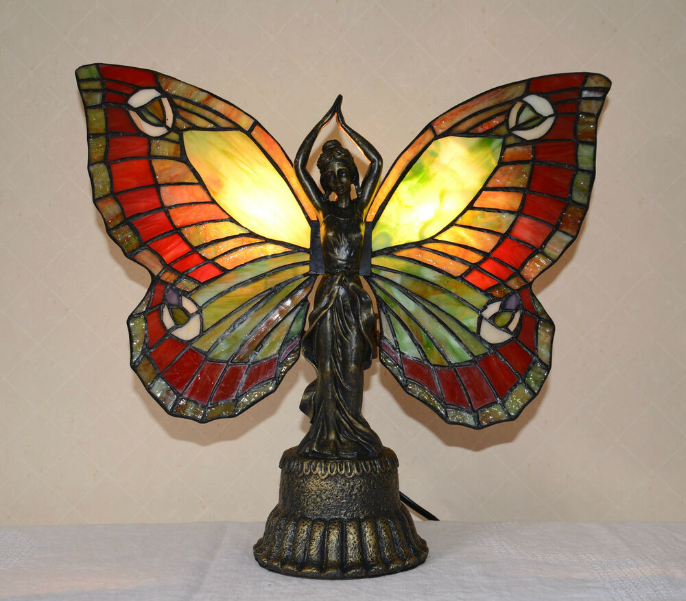 stained glass butterfly deco girl night light table desk lamp only 1. Black Bedroom Furniture Sets. Home Design Ideas