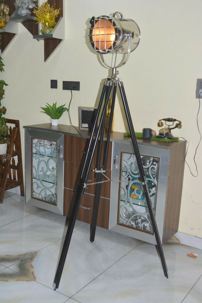 Nautical searchlight theater spotlight floor lamp revolving tripod full chrome ebay - Tripod spotlight lamp ...