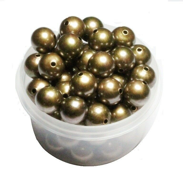 20 MM Vintage Brass Round Seamless Hollow Beads 12 Pcs Hole 2.0 MM Large Beads