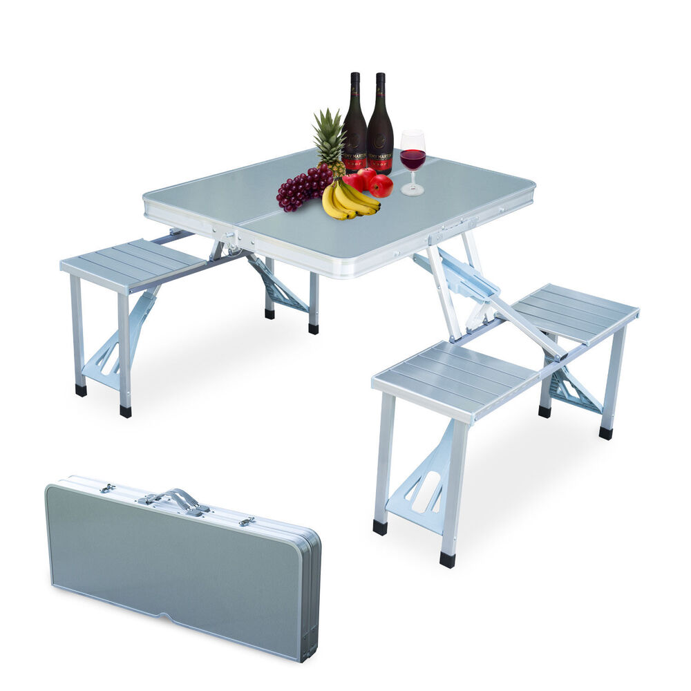 New Outdoor Garden Aluminum Portable Folding Camping Picnic Table With 4  Seats | EBay