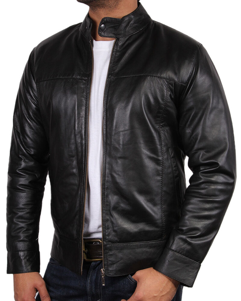 mens all leather biker jacket vintage look black biker style crinkle retro bnwt ebay. Black Bedroom Furniture Sets. Home Design Ideas