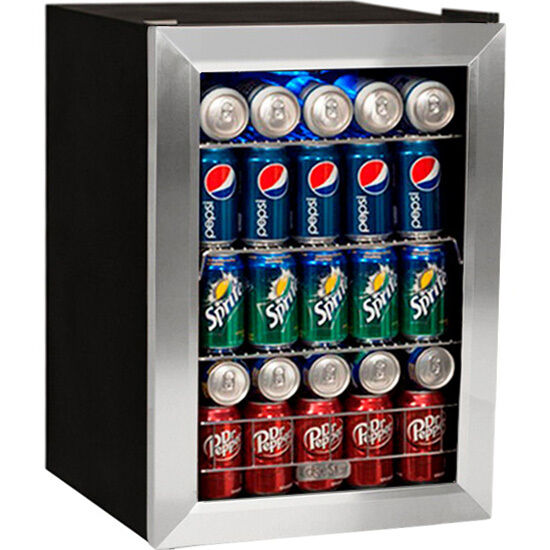84 Can Glass Door Beverage Cooler Refrigerator Compact