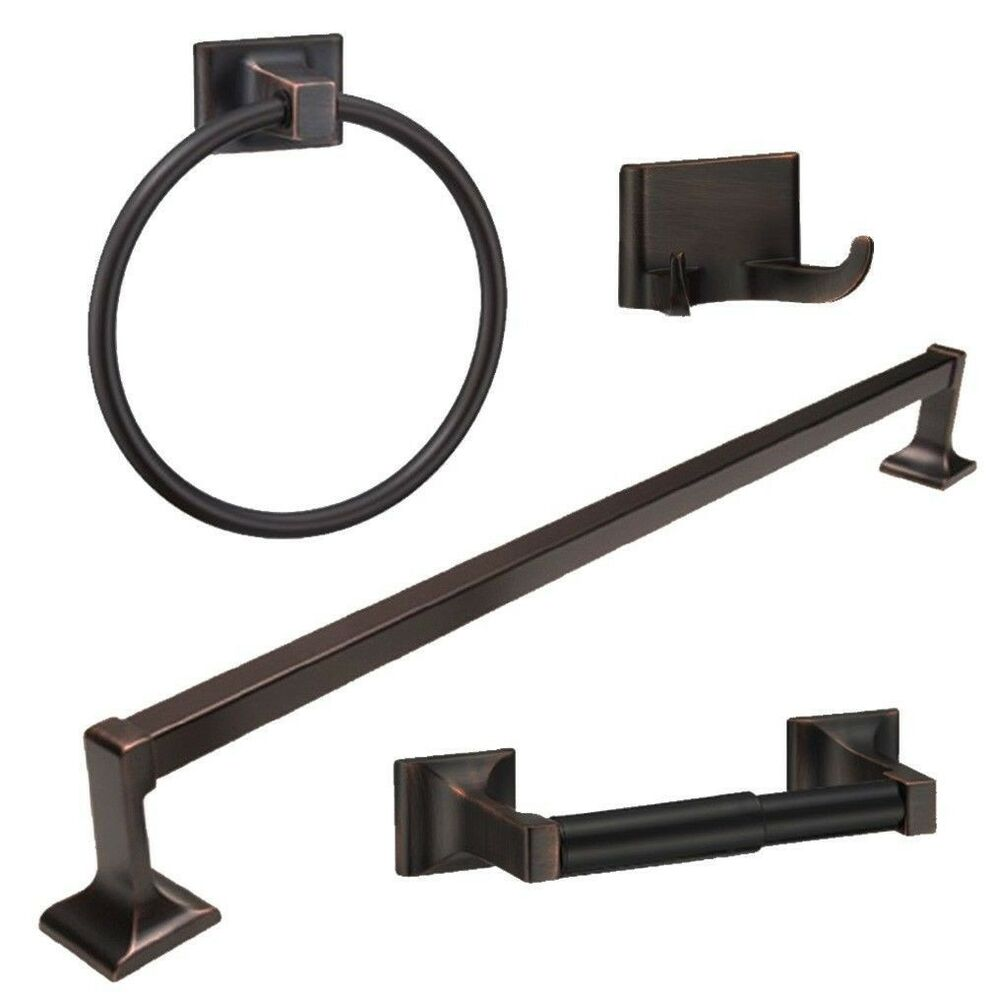 Bathroom Shower Hardware : Oil Rubbed Bronze 4 Piece Bathroom Hardware Bath Accessory Set eBay