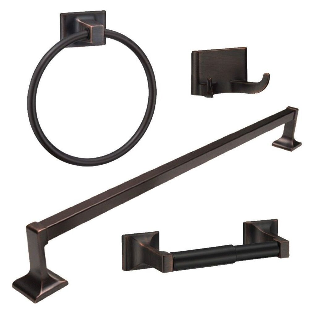 Oil rubbed bronze 4 piece bathroom hardware bath accessory for Black bath accessories sets