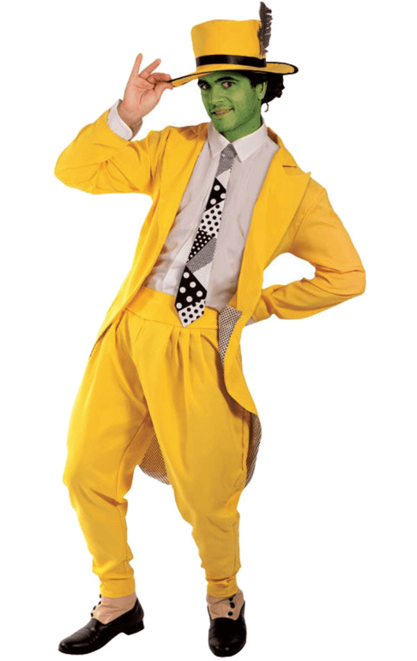 mens manic superhero yellow gangster suit mask fancy dress costume