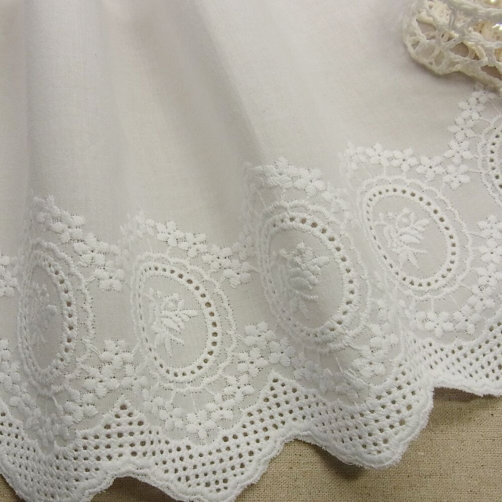 Yd vintage st embroidery scalloped cotton fabric eyelet