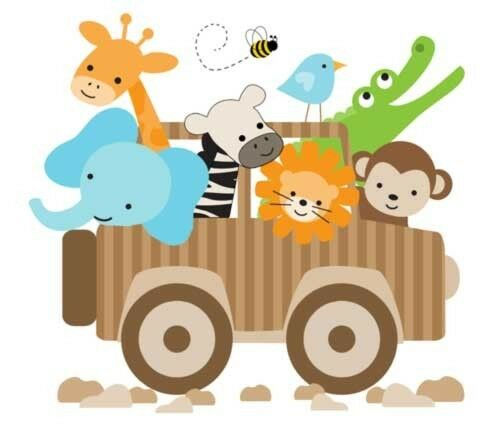 Jungle animals jeep wall art mural decals kids room baby for Baby jungle mural