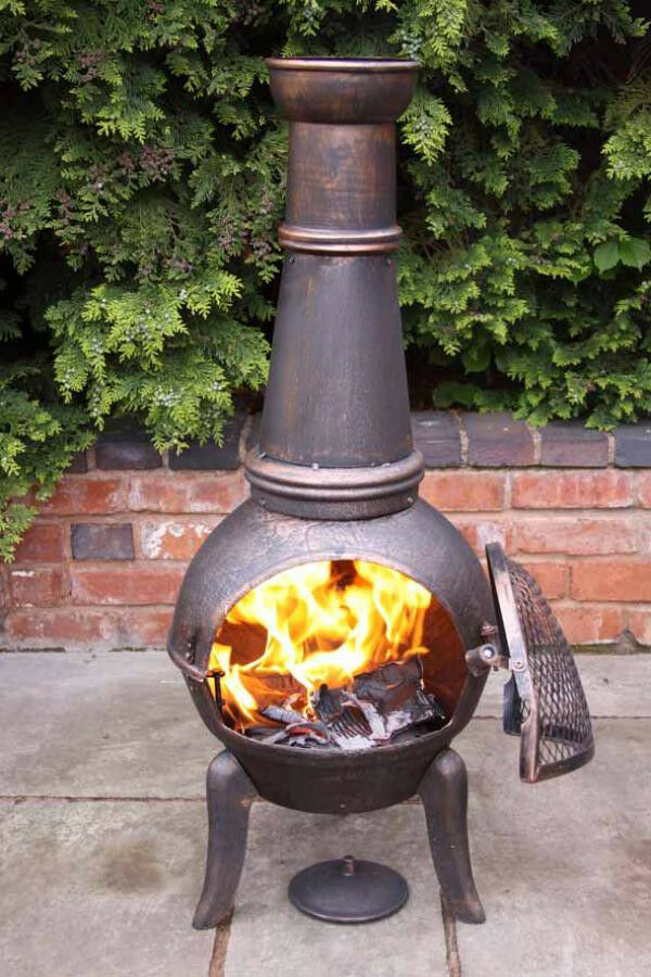 Cast iron chimenea patio heater barbeque fire pit wood for Wood burning stove for porch