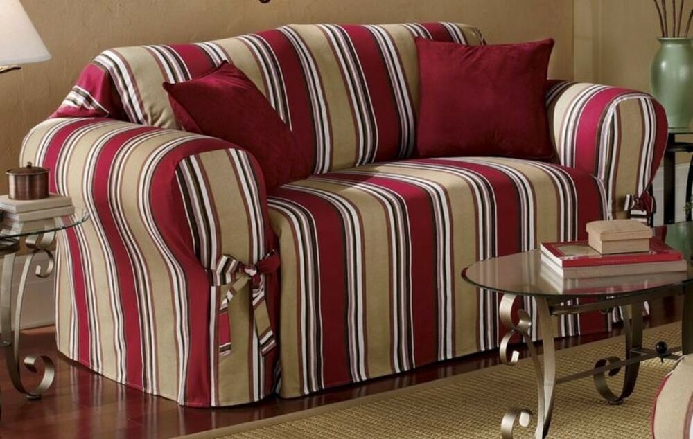 All Cotton Red Stripes Sofa Loveseat Chair Slipcover Cover