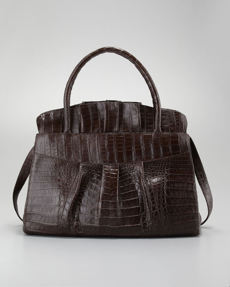 3900 new nancy gonzalez ruffled chocolate brown crocodile for Nancy gonzalez crocodile tote