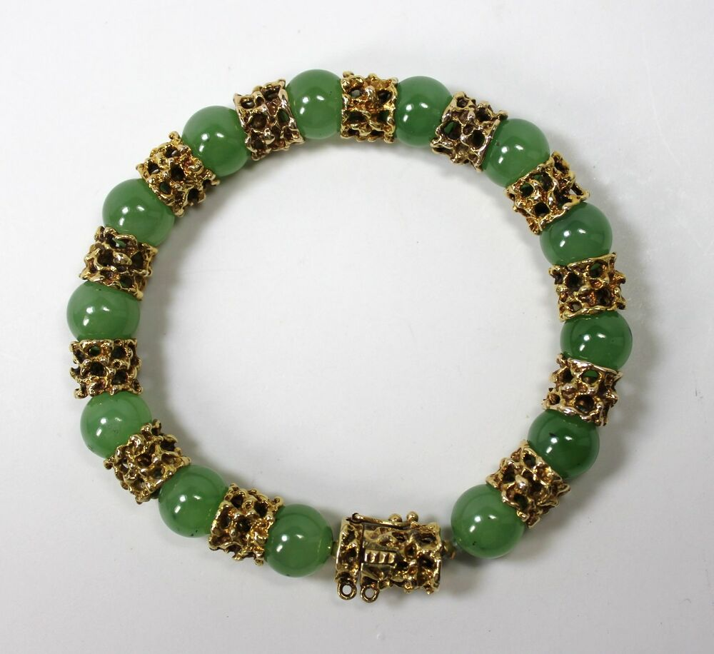 Vintage chinese 14k yellow gold jade bead bracelet 7 for Pictures of jade jewelry
