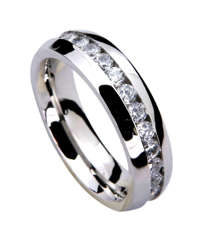 6mm men 39 s wedding band ring classic engagement stainless for Mens eternity wedding band