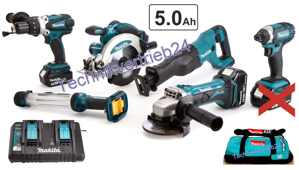 makita 6er ger teset 18v 5ah mit 2x akku bl1850b und doppelschnelladeger t ebay. Black Bedroom Furniture Sets. Home Design Ideas