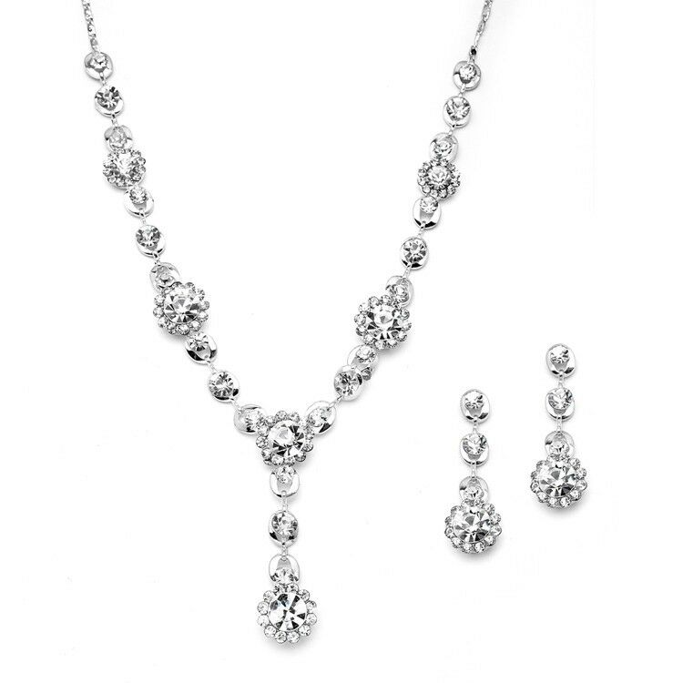 mariell clear floral silver drop necklace and earring set