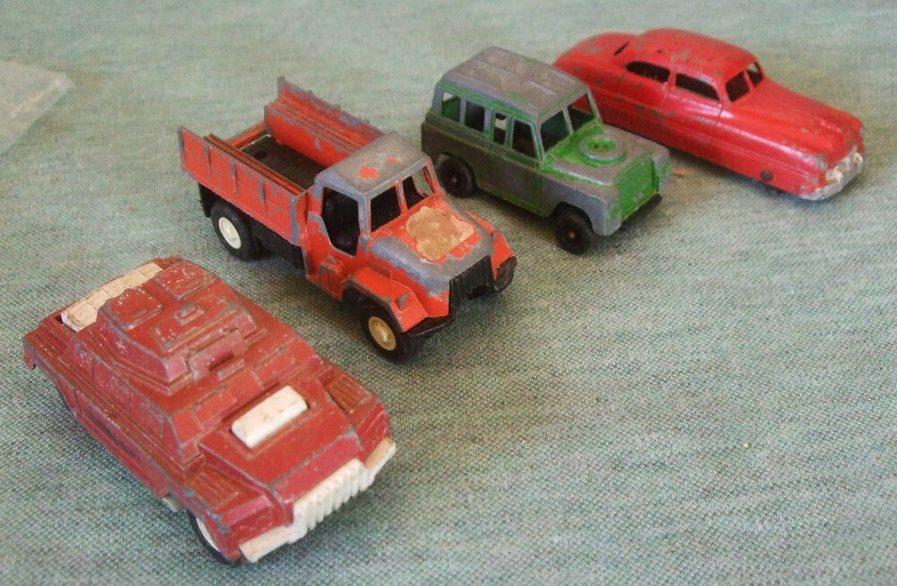 tootsie toys metal plastic set of 4 vehicles made in the usa ebay. Black Bedroom Furniture Sets. Home Design Ideas