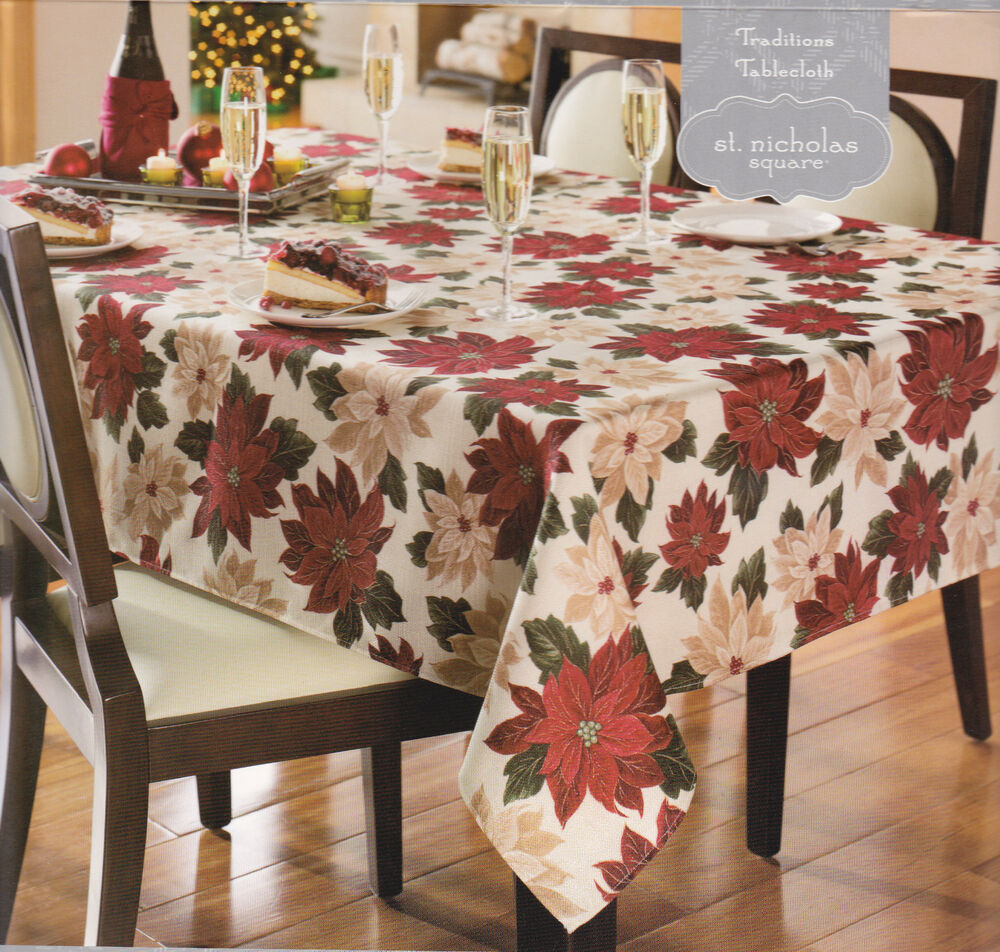 St Nicholas Square Traditions Tablecloth Flowers Table