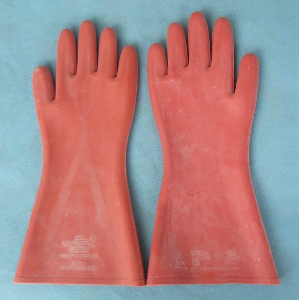 High Voltage Rubber Gloves : Working gloves kv insulated rubber professional