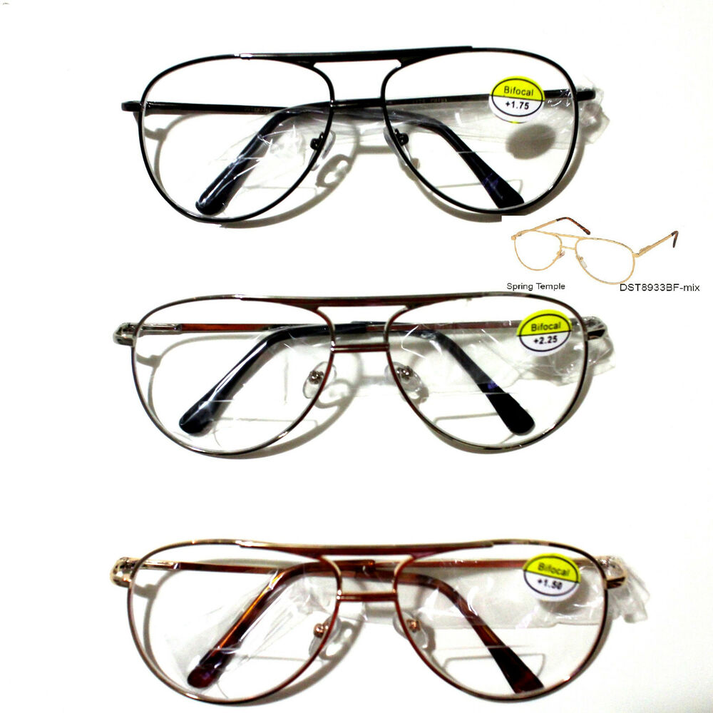 bifocal metal reading glasses aviator reader clean lens 1