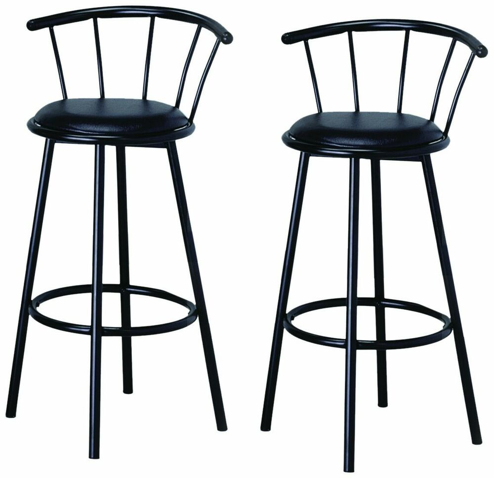 New Indoor Set Of 2 Metal Black Swivel Vinyl Seat Pub Bar