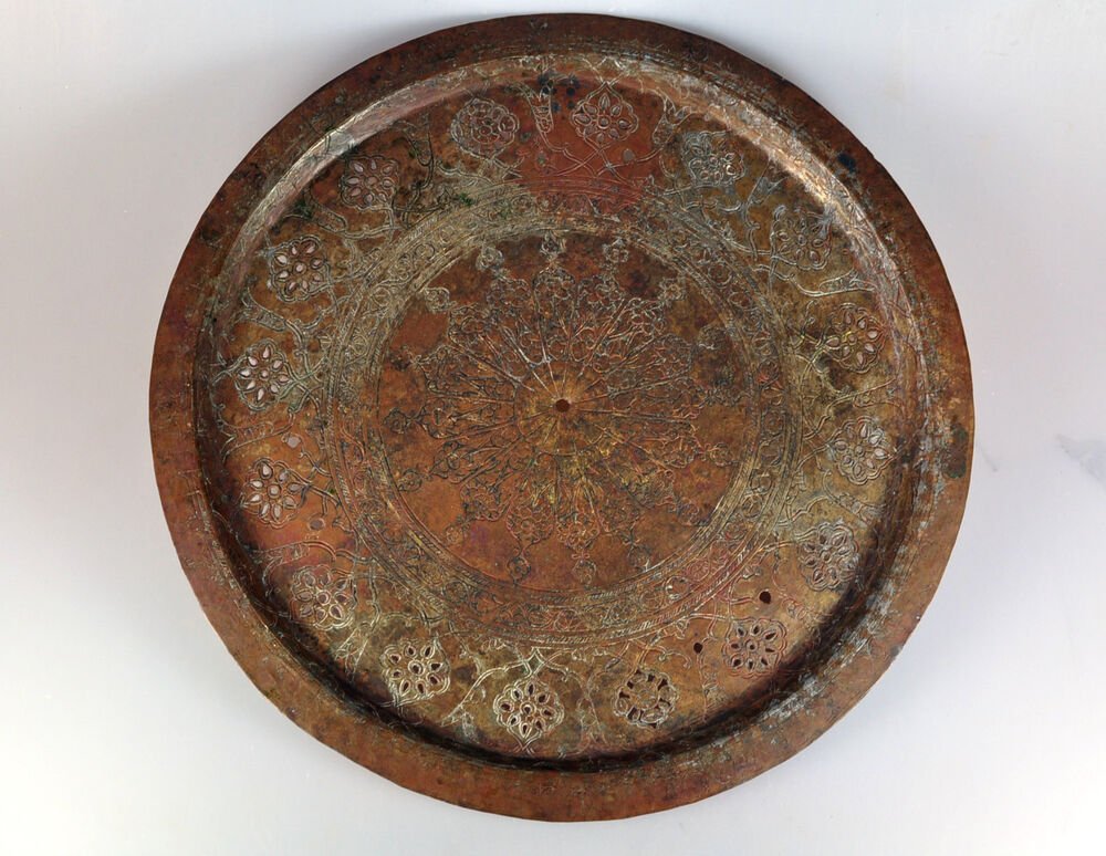 Antique Qajar Persian Engraved Bronze Copper Bowl Tray