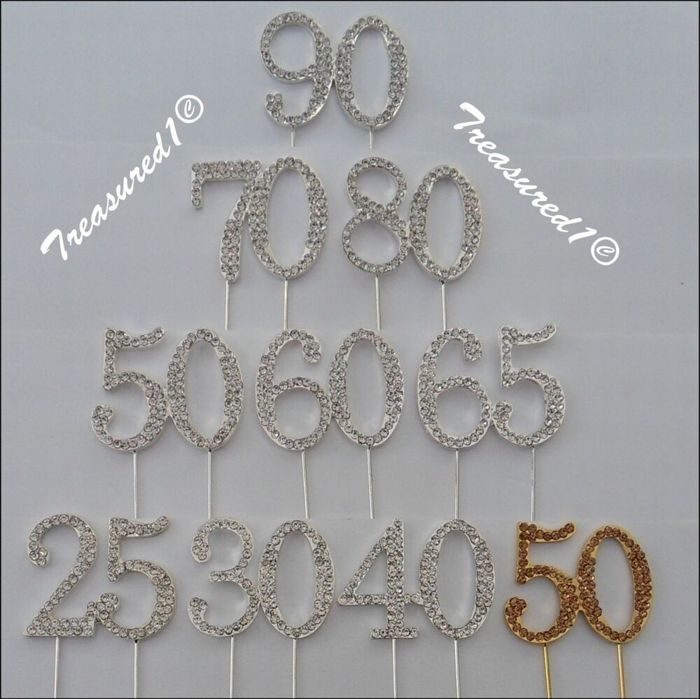 gold bling wedding cake topper cake number toppers rhinestone diamante gems clear 14748