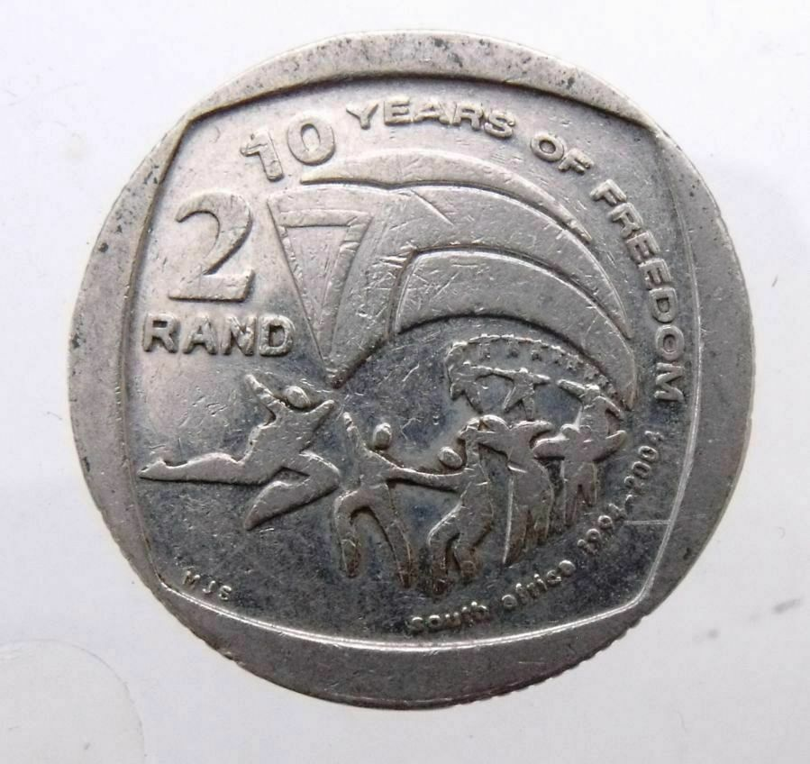 South Africa 2 Rand 2004 Flag 10 Years Of Freedom Rare Commemorative Coin Ebay