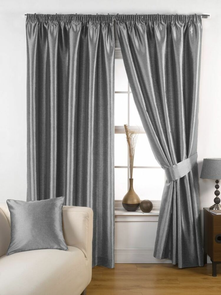 Ravello Faux Silk Ready Made Fully Lined Tape Curtains