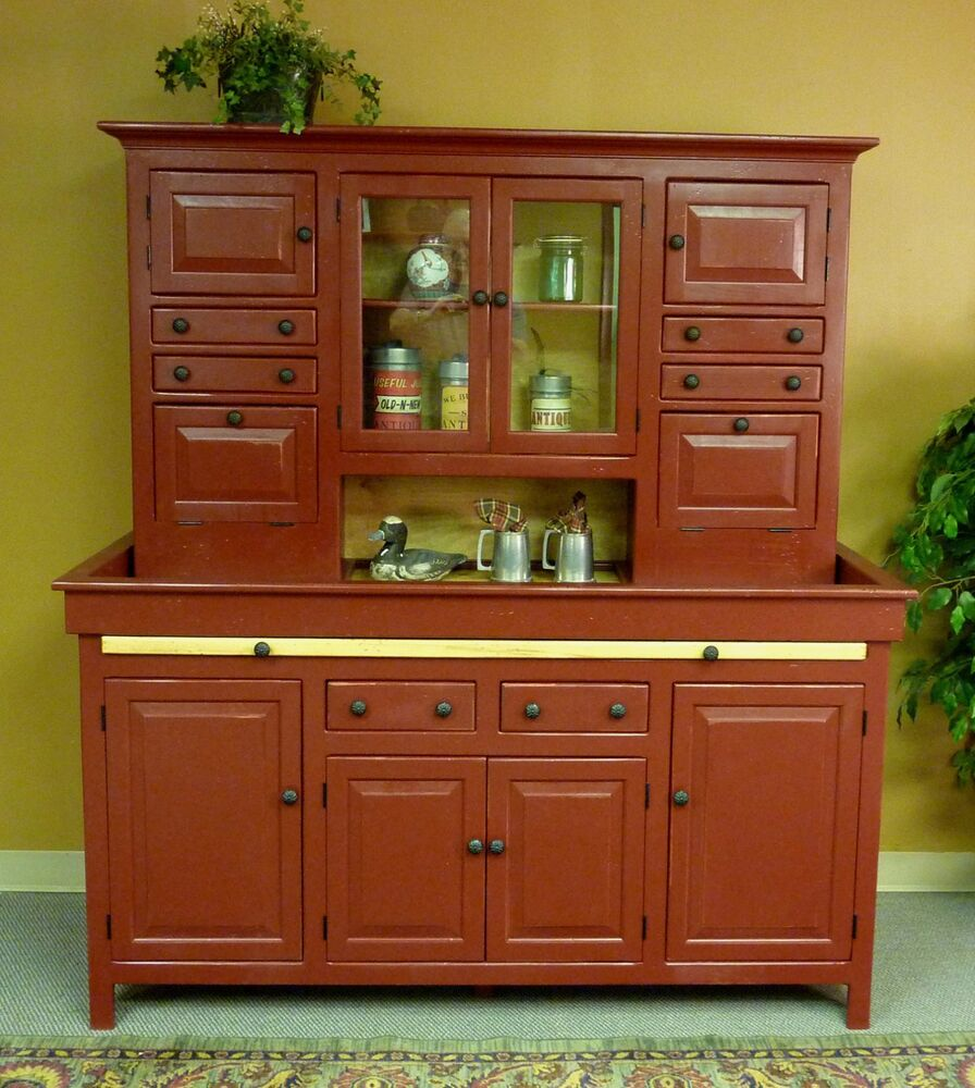 Antique Cabinets Kitchen: JUMBO Pine Hoosier Cabinet, USA Made Antique Reproduction